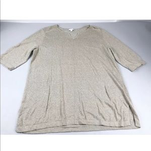 J Jill Tan Linen Blend Tunic Top XL 3/4 Sleeve